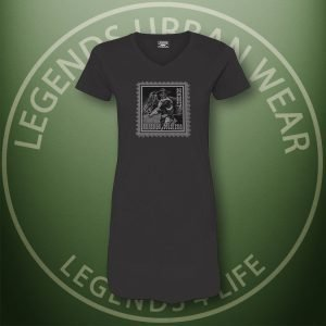LEGENDS-Buffalo-Soldiers-Womens-Black-Dress-Tee-Front