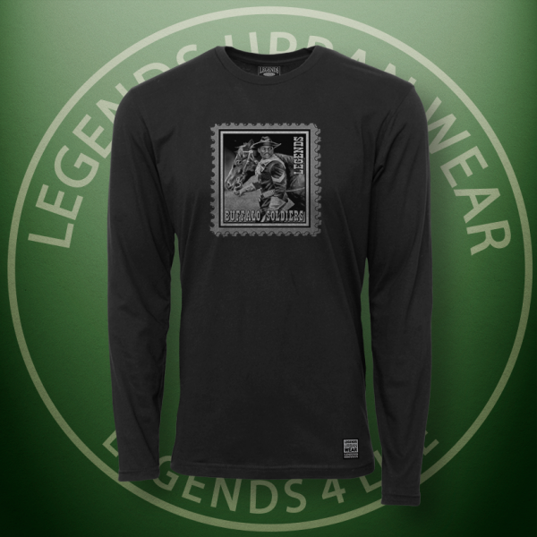 Legends Buffalo Soldiers Black Long Sleeve Shirt FRONT