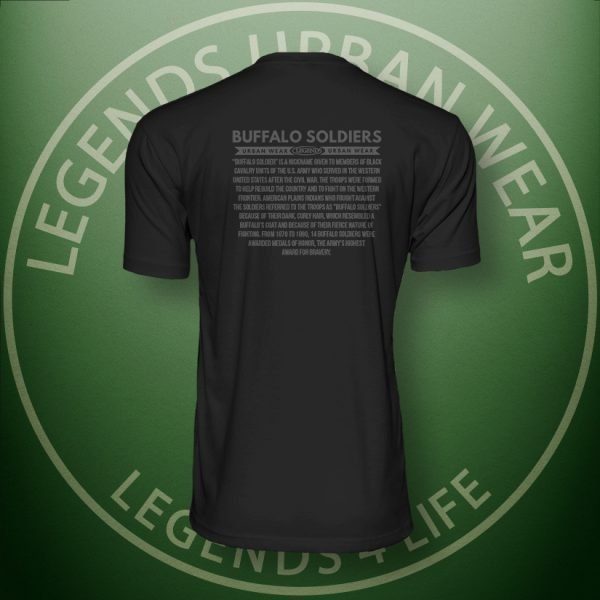 Legends Buffalo Soldiers Men's Black Premium Tee Back