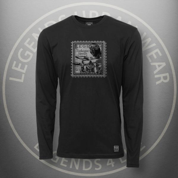 Legends Tuskegee Airmen t Black Long Sleeve Shirt FRONT